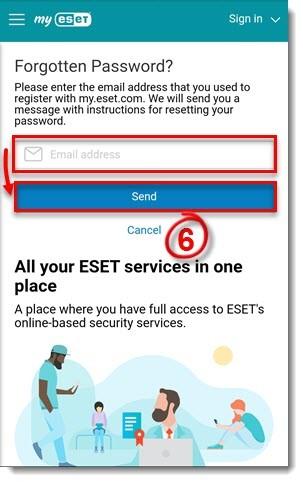 ریست کردن رمز فراموش شده ESET mobile Secuirty