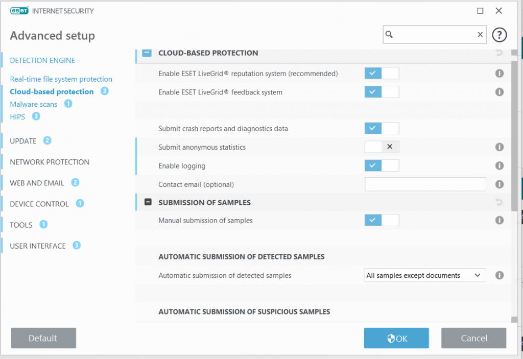 معرفی و باز کردن تنظیمات پیشرفته ESET Advanced setup